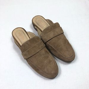 Me Too Tan faux suede mule slides size 8.5